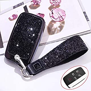 Royalfox(TM) 5 Buttons 3D Bling keyless Entry Remote Smart Key Fob case Cover for Land Rover Defender Discovery Sport LR2 LR3 LR4 Range Rover Sport EVOQUE and Jaguar XF XJ XJL XE F-PACE (Black)