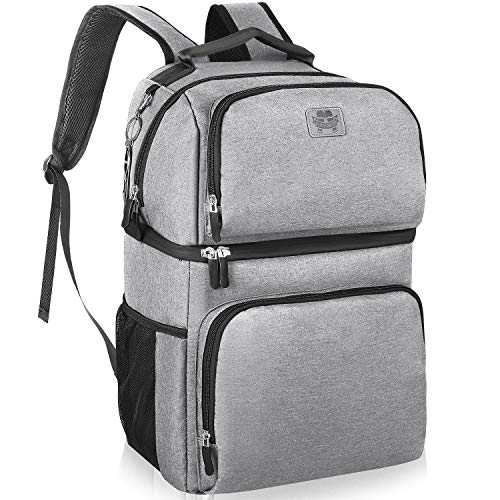 Insulated Cooler Backpack - Double Deck Leakproof Spacious Lightweight Soft...