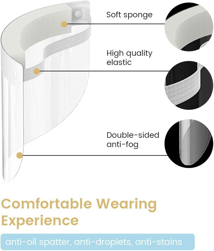 US Stock Ultra-Clear Anti-Fog 2PCS Fast Delivery Adjustable Strap One Size Fits All Extra Large Splash Guard Reusable Kids Full Face Shield