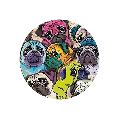 Pug Mouse Pad Round Mini Mousepad Puppy Cute Funny Dog Home Office Computer Laptop Pads Desk Decor Small Circle Mat for Women Girl Boy