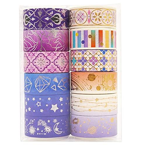 PMSMT 12 unids/Set Lindo Galaxy Washi Tape Kawaii Gold Foil Masking Tape Planta Cinta Adhesiva Decorativa Pegatina Scrapbook Diario papelería