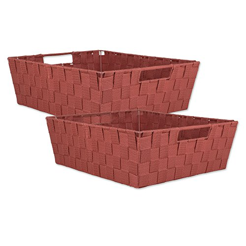 DII 5893  Durable Trapezoid Woven Nylon Storage Bin or Basket for Organizing Your Home, Office, or Closets (Tray - 13x15x5') Rust - Set of 2