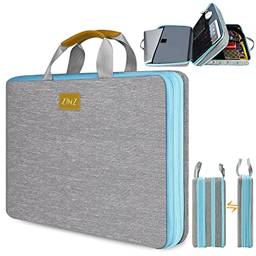 ZINZ Slim & Expandable Laptop Sleeve 15 15.6 16 Inch Case Bag for Popular 15'-16' Notebooks Water-Resistant Handbag Multipurpose Computer Accessories Storage Bag -Gray