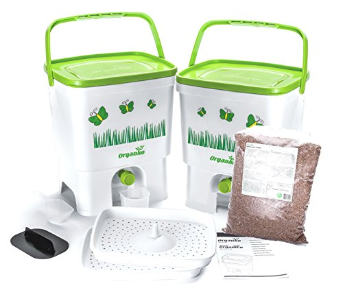 Bokashi Organico Dual System 2x3.5 gallon Buckets with active Bran and Accessories- Sustainable and Innovative Organic Waste Bin - Composter Kit (White/Lime)