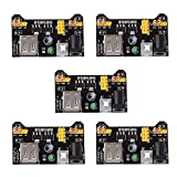HiLetgo 5pcs 3.3V 5V Power Supply Module for MB102 102 Prototype Breadboard DC 6.5-12V or USB Power Supply Module