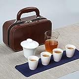 Servizio da tè da viaggio in porcellana bianca in stile cinese, borsa per il trasporto in ceramica, pubblicità per riunioni festive, LOGO personalizzato per regali aziendali-Tè Zen Cup-Glass Sea