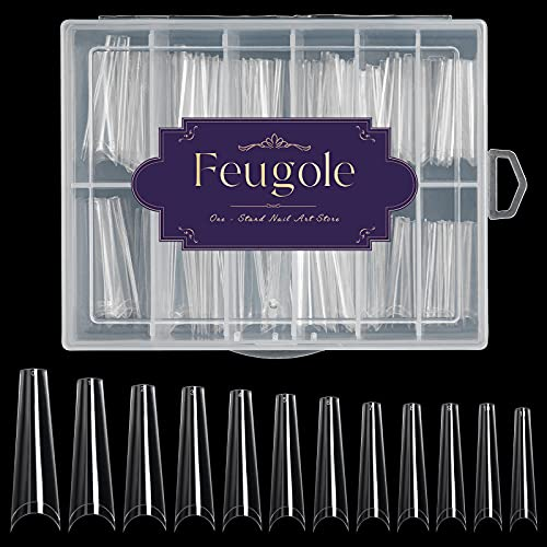 Extra Long Coffin Nail Tips, Feugole 120 Pcs XXL French Coffin Ballerina Nail Tips, Upgrade Acrylic Artificial Half Cover False Nails with Box for Nail Salon and Spa