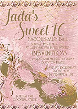 Pink And Gold Masquerade Ball Sweet 16 Birthday Party Invitations With Envelopes