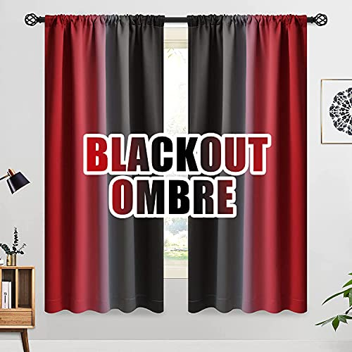 COSVIYA Ombre Room Darkening Red and Black Curtains 63 inches Length for Kids Bedroom, Light Blocking 2 Tone Reversible Rod Pocket Gradient Window Drapes for Living Room,2 Panels, 52 inches Wide