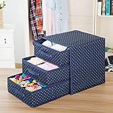 Wuyue Hua - Caja de almacenamiento para ropa interior, de tela Oxford, caja de almacenamiento de escritorio para sujetador, ropa interior, calcetines, como un cajón, con tres capas
