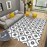 Kunsen Alfombra Juvenil Dormitorio Alfombra geométrica Simple del Dormitorio del salón, Pelo Corto, sin Pelusa, Lavable a máquina alfombras Salon Baratas Blanco 4ft 7''X6ft 7'' alfombras de140X200CM