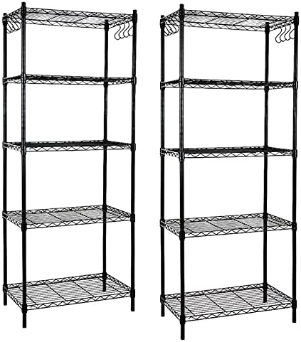 popular EFINE 2-Pack 5-Shelf Shelving Unit with Hook, discount Adjustable, Heavy Duty Carbon Steel Wire Shelves, 150lbs Loading Capacity online Per Shelf, Shelving Units and Storage for Kitchen and Garage (23.6W x 14D x 59H) outlet sale