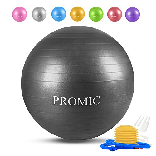 PROMIC バランスボール 45/55/65/75/85cm 8色 プロフェッショナルグレード フットポンプ付き アンチバーストヨガボール エクササイズボール