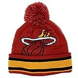 adidas Miami Heat Solid Logo Striped Cuff Pom Knit Beanie Hat/Cap