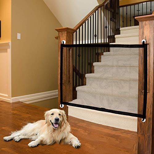 LUOWAN Magiczna brama dla psów, brama dziecka, bramka dla zwierząt, przenośna brama bezpieczeństwa składana siatka na schody 110 cm x 75 cm pasuje do większości drzwi wewnętrznych i zewnętrznych bezpieczna ochrona dla psów kotów dzieci