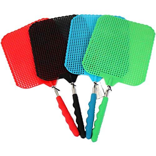 marion10020 Fliegenklatsche Fliegen-Klatsche Klatsche XXL, ausziehbar von 34 cm bis 76 cm, Schlagfläche 19 x 16 cm, bunt gemischt, 4er-Set