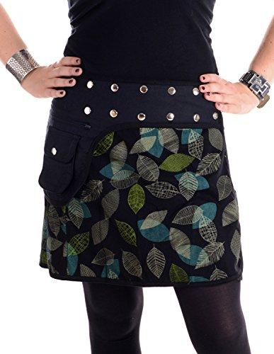 Vishes - Alternative Bekleidung - Elfen Mini Rock mit Bauchtasche - verstellbar mit Druckknöpfen schwarz