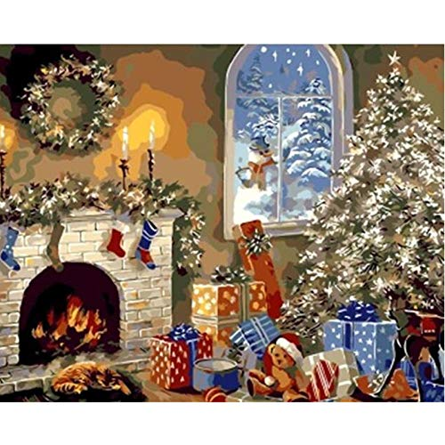 DIY Acrylic Painting Kit Garland Fireplace Gift Paint by Numbers for Kids & Adults Beginner 16 x 20(Without Frame)