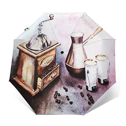 Regenschirm Taschenschirm Kompakter Falt-Regenschirm, Winddichter, Auf-Zu-Automatik, Verstärktes Dach, Ergonomischer Griff, Schirm-Tasche, Bohnen Essen Stillleben Kaffee