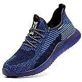 Zapatos de Seguridad Hombres con Puntera de Acero Hombre Mujer Transpirables Zapatillas de Senderismo Deportivas Antideslizante Unisex Azul 42 EU