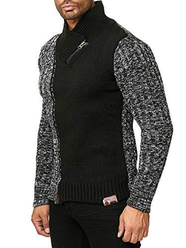 Tazzio Herren Styler Grobstrick-Pullover mit Zipper-Kragen Melange Muster 16478 (L, Schwarz 14423)