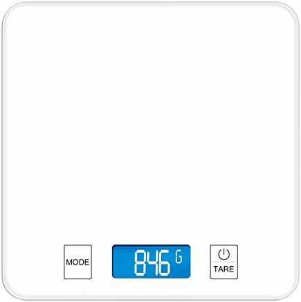 Kitchen Scales - Tempered Glass, Touch Buttons, HD Display, Kitchen Kitchen Waterproof Precision Food, Small Baking Electronic Scales - 3 ranges, 2 Colors Available (Color : White, Size : 15kg)