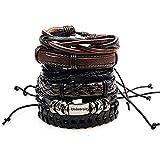 University Trendz Brown Wrap Real Leather Bracelet for Boys (US) -6 Pcs