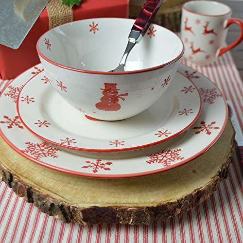 Euro Ceramica Winterfest Christmas Collection, 16 Piece Set, Red and White
