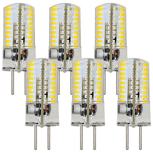 MENGS 6 Stück GY6.35 4W LED Lampe 72x3014 SMD AC/DC 12V Warmweiß 3000K Mit Silikon Mantel