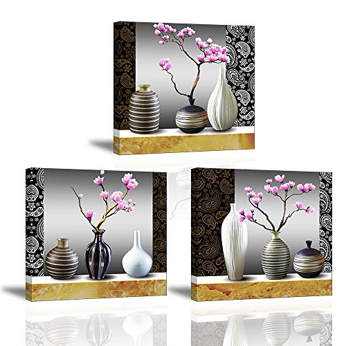 Piy Painting Cuadro en Lienzo en Flores de Orquídeas Flor en Hermoso Florero Murales Decoración Impresiones de Lienzo Romantico para Cocina Estudio Regalo de Fiesta Aniversario 30x30cm 3units