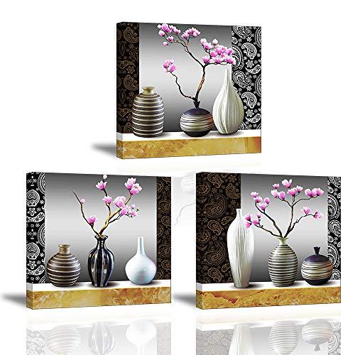 Piy Painting Cuadro en Lienzo en Flores de Orquídeas Flor en Hermoso Florero Murales Decoración...