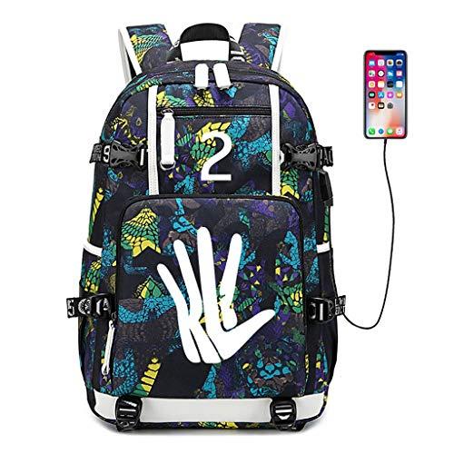カジュアルデイパック ラップトップバックパック、男性と女性のファッションプリントバスケットボールバックパック、USB充電ポート付き、防水レジャーカレッジ高校バッグ男性と女性-発光 ラップトップバックパック (Color : B, Size : 1)