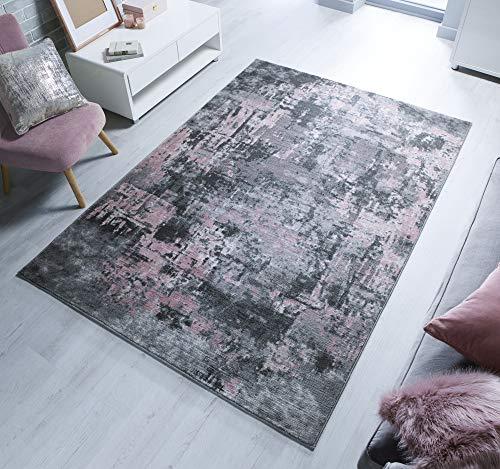 Rugs With Flair Wonderlust - Alfombra (80 x 150 cm), diseño Abstracto de cóctel, Color Gris y Rosa