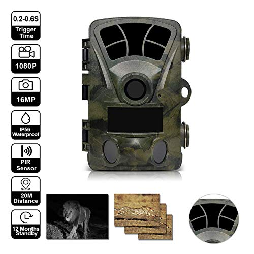 B&H-ERX Trail Camera,1080P 16MP HD Wildlife Game Hunting Cam met Motion Activated Night Vision,120° Wide Angle Lens,IP65 Waterdichte Wildlife Camera(2019 upgrade)
