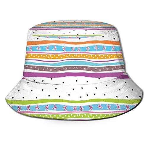 FULIYA Fisherman Senderismo Sombrero de ala ancha, rayas onduladas abstractas Polkadots Cintas Arcos y Corazones Girly Artwork