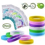 yuip braccialetto antizanzare 24 pezzi 6 colori, braccialetti repellente anti insetti naturale al 100% per sport e attività all'aria aperta, questioni naturali, regolabile per bambini e adulti