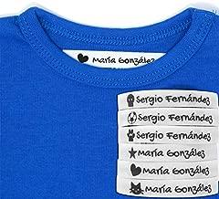 100 Etiquetas Termoadhesivas Personalizadas con Icono para marcar la ropa. (Blanco)