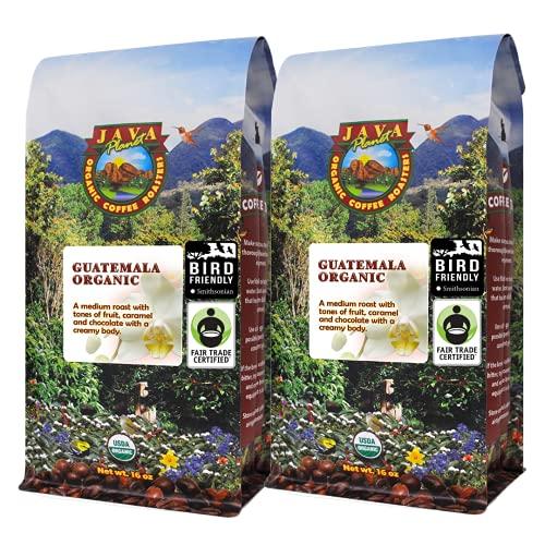 Java Planet - Guatemalan USDA Organic Coffee Beans, Medium Roast, Bird Friendly, Fair Trade, Arabica Gourmet Specialty Grade A - packaged in 2 1 LB bags