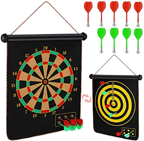Magnetic Dart Board, Indoor Outdoor Dart Games for Kids, Roll Up Double Sided Dartboard, Reversible Dart Board Set with 9 Safe Magnetic Darts, Best Toys Gifts Dart Board Games, Easily Hangs Anywhere