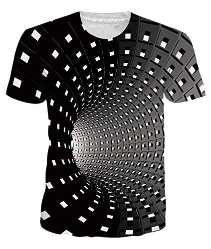 uideazone T Shirt Homme Humour Imprimé 3D T-Shirt Blanc Fantaisie Manche Courte Unisexe ,M,Noir-Anoir
