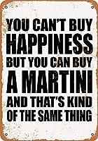 白い桜雑貨屋 看板 コカ 通販 レトロ ブリキ You Can't Buy Happiness But You Can Buy a Martini 壁飾 アンティーク メタル レトロ 看板 販売(20x30cm)