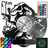 Jurassic Park RGB LED Pilot Reloj de pared para mando a distancia, disco de vinilo moderno decorativo para regalo de cumpleaños