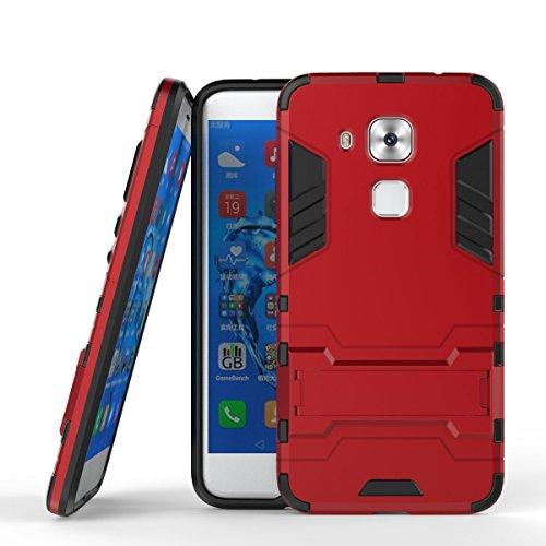 Huawei Nova Plus Funda, MHHQ 2in1 Armadura Combinación A Prueba de Choques Heavy Duty Escudo Cáscara Dura PC + Suave TPU Silicona Rubber Case Cover con soporte para Huawei Nova Plus -Red