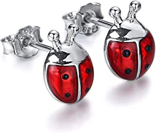 Fashion 9mm Exquisite Small Cute Ladybug Stud Earrings Pink/red Charm Insect Ladybug Style Earrings for Women Girl Gift (C...