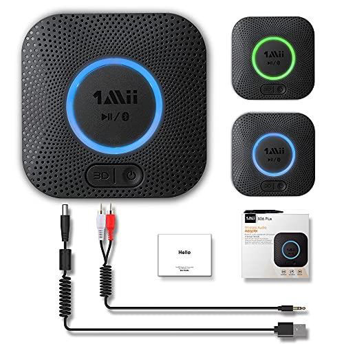1Mii Bluetooth Empfänger, Aux Bluetooth Audio Adapter für Musikstreaming-Soundsystem,APTX 3D-Surround drahtloser Audio Receiver für Lautsprecher,3,5 mm Klinke und Chinch