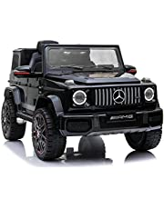 Racewinner AMG G63 12V Ride On Car with Remote Control for Kids, Suspension System, Openable Doors, LED Lights, MP3 Player, New Version, Black