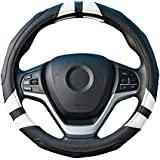 Achiou Universal Car Steering Wheel Cover 15 inch with Grip Contours, Leather Auto for Men and Women Non-Slip, No Smell Suitable for Every Season (Black and White)