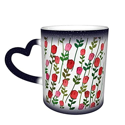 MENYUAN Taza de café acuarela rosas rojas con hojas mágica sensible al calor color cambiante taza en el cielo tazas de café regalos personalizados para los amantes de la familia amigos