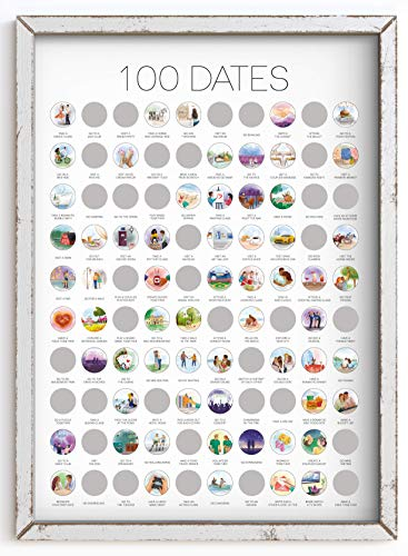 100 Dates Scratch Off Poster - Engagement Gifts, Gifts for Her, Date Night, Anniversary for Couples,...