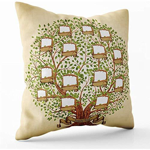 WHEYT Funda de cojín 45 cm x 45 cm Cubiertas Plantilla de árbol genealógico Funda de Almohada de poliéster Vintage con Cremallera Invisible